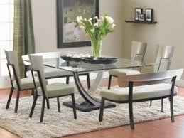 Glass top dining tables with wood base 10