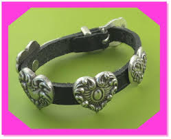details about brighton retired multi heart silver black leather bracelet preloved