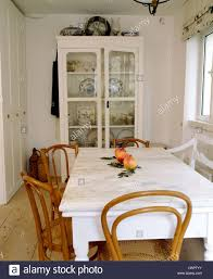 Bentwood Dining Table Marble Topped Painted Table With Antique Bentwood Chairs In White