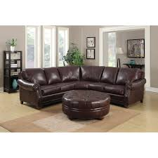 troy chestnut brown italian leather sectional sofa and ottoman