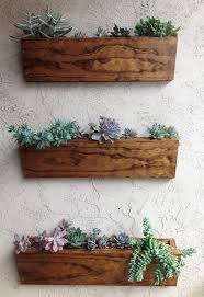 Furniture 3 Pcs Brown Rustic Box Wall Mounted Pot With Kaktus Planter White  Stained Wall Wooden Box Pot Wall Mounted Natural Wooden Wall Mounted Pot ...