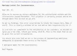 Apology Letter For Inconvenience