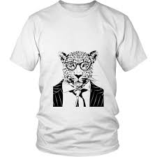 Cool Cat Leopard Silhouette Unisex T Shirt Animal In A Suit