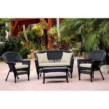 image black wicker outdoor furniture. Black Wicker 4-piece Patio Conversation Set - Free Shipping Today Overstock.com 14005665 Image Outdoor Furniture