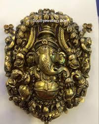 antique gold ganesh pendant