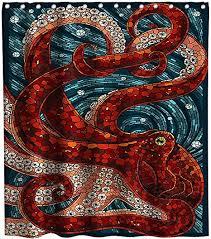 Lifeasy Ocean Kraken Red Octopus Shower Curtain ... - Amazon.com