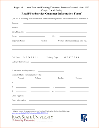 Contact Information Form Template Customer Information Form Template Outline Templates 12