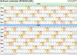Free Printable School Calendar Year 2019 Calendar United Kingdom With School Calendars 2020 As Free