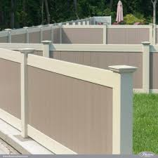 Vinyl privacy fence colors Fake Wood Twocolor Illusions Pvc Vinyl Fence Idea Featuring Adobe And Antique White Privacy Panels fenceideas fence landscapingideas backyardideas dreamyard Buyvinylfencecom Twocolor Illusions Pvc Vinyl Fence Idea Awesome Fence Ideas