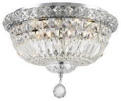 empire 4 light chrome finish crystal flush mount ceiling light 14 round medium