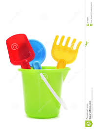 Sand- beach toy set: pail, shovel and rake