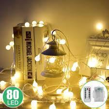 Battery Operated Led Indoor Lights Globe String Lights 33ft 80 Led Battery Operated Led String Lights With Remote Indoor Outdoor Waterproof Decorative String Lights For Party Garden