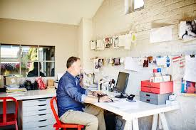 working for home office. Man Working In Home Office For
