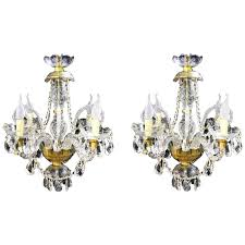 pair of vintage venetian four light crystal chandeliers for