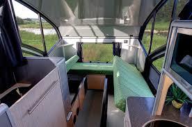 teardrop trailer transforms into a large family camper sofa
