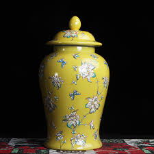 Decorative Jars And Vases Yellow Jingdezhen hand made temple jar vase ceramic porcelain 59