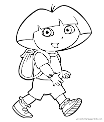 Dora The Explorer Color Page Coloring Pages For Kids Cartoon