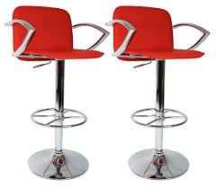 furniture red bar stools with white ceramic floor and small