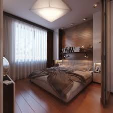 bedroom beautiful white dark brown wood glass luxury design modern bedroom furniture space room interior small pendant lamp white curtain wall racks book
