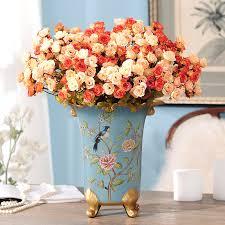 تأثيث المنزل مجموعة زهرية زهرة الحرير الزهور الورود محاكاة الزهور الحلي ...