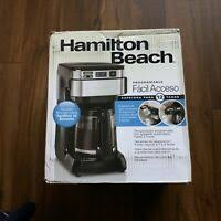 It spits so hard into the coffee grounds that the water splashes out of the filter and washes the grounds down the outside of the filter into the pot. Hamilton Beach 12 Cup Programmable Coffee Maker 49465r Black Distressed Pkg 40094494651 Ebay