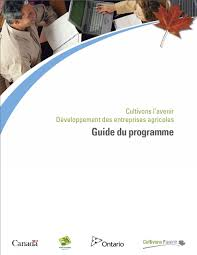 business development for farm businesses program forms design image of a program guide cover page in french