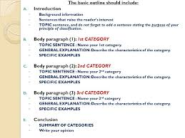 how to write an outline for the classification essay ppt video  the basic outline should include