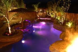 swimming pool lighting options. Rock Surrounding Swimming Pool Lighting Options
