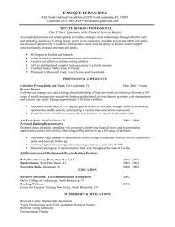 resume for bankers