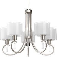 invite 5 light drum chandelier finish brushed nickel
