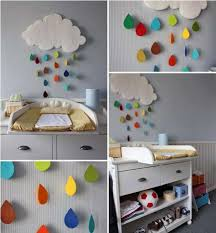 diy baby room decor rainy cloud raindrops felt  on wall designs for baby rooms with diy cloud wall decorating for a child s room