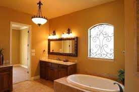 ideas burnt orange: gorgeous small bathroom ideas with blue painting wall including