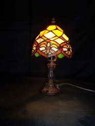 rare vintage fl stained glass table lamp tiffany style