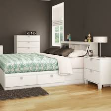 Pure White Karma 4 Piece Bedroom Set - Karma Twin Mates Bed, Bookcase Headboard, 5 Drawer Chest and Nightstand by South Shore