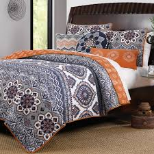 Boho Chic Moroccan Paisley Pattern Grey Orange Cotton 3 Piece King ... & Boho Chic Moroccan Paisley Pattern Grey Orange Cotton 3 Piece King Size Quilt  Bedding Set Adamdwight.com