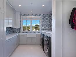 blue mosaic tile backsplash. Brilliant Tile Gray Laundry Room With Blue Mosaic Tile Backsplash Inside U