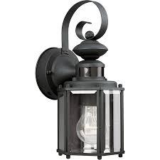 progress lighting motion sensor 13 in h black motion activated outdoor wall light