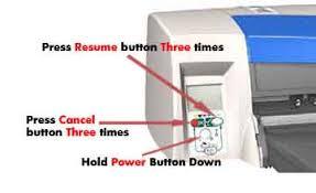 Mientras pulsa el botn de ENCENDIDO, pulse el botn CANCELAR tres veces y,  a continuacin, pulse el botn REANUDAR tres veces.