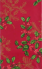 holly with gold etchings vinyl flannel back tablecloth red 60 round kitchen dining so05f0dir