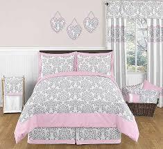 pink gray elizabeth comforter set 3 piece full queen size by sweet jojo