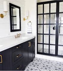 Black and white bathroom beauty with cement tile, steel frame shower ...