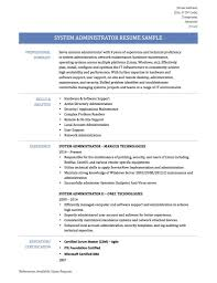 System Admin Resumes System Administrator Resume Samplestemplates And Tips