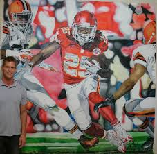 sports paintings oil on canvas painting of nfl football kansas city chief jamaal charles