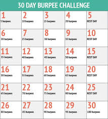 30 Day Burpee Challenge 30 Day Workout Challenge 30 Day