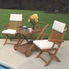 sailor 3 piece teak patio bistro set w tray cart and sunbrella canvas natural cushions by royal teak collection bbqguys