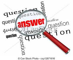 Questions and answers - magnifying glass on words. A magnifying ...