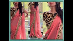 Simple Saree With Heavy Designer Blouse Plain Saree With Heavy Work Blouse Latest Designer Saree Fashion