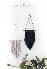 diy modern wall hanging on cara membuat vintage wooden wall art with diy modern yarn hanging homey oh my
