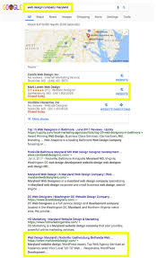 Website Designers Maryland First Page Google Search Results Screenshot For Web Design