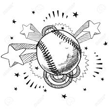 レトロな 1970 年代のポップ背景落書きスタイル野球イラスト
